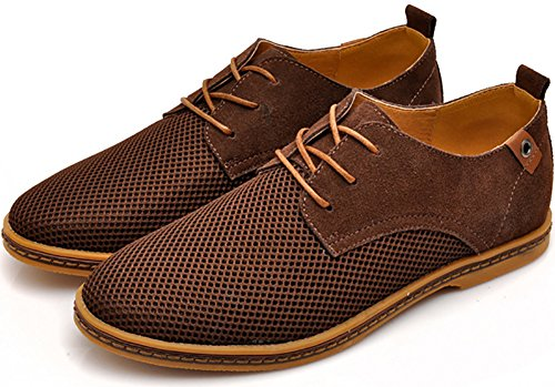 Odema Homme Pointe Toe Cuir Suede Casual Oxfords Marron