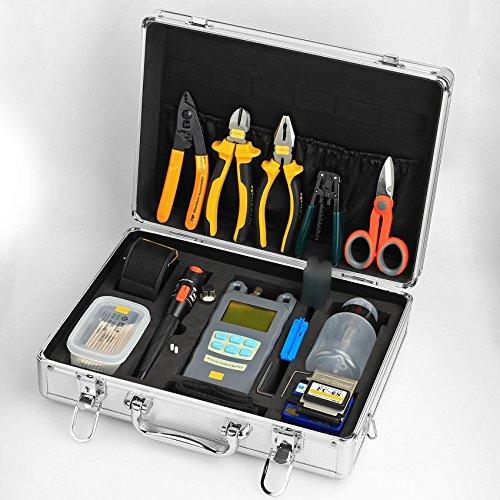 Glasfaser Kabel Kündigung Werkzeug Kits 23in 1Kalten Anschluss Werkzeug mit Die Faser Hackmesser Visual Fault Locator Lebensmittel Faser Abisolierwerkzeug (Wire Locator)