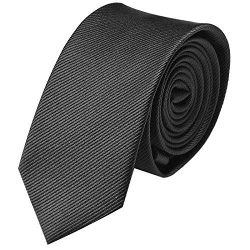 Krawatte 6cm Schmal gestreift   Schwarze Rips Herrenkrawatte zum Sakko   Slim Schlips Binder einfarbig Schwarz mit feinen Streifen (Schwarzen Feinen Streifen)