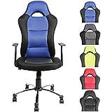 CLP Silla de oficina / Silla Gaming JERRY, muy cómodo con ruedas ligeras, altura del asiento 51 - 61 cm azul