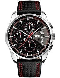 Skmei Reloj de pulsera para hombre, de cuarzo, esfera analógica, pantalla y correa de cuero, dial negro y correa con rayas de color rojo