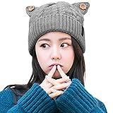 SIGGI Warme Strickmütze 100% Wolle Dicke Gestrickte Beanie Mütze mit Katzenohren Damen Grau