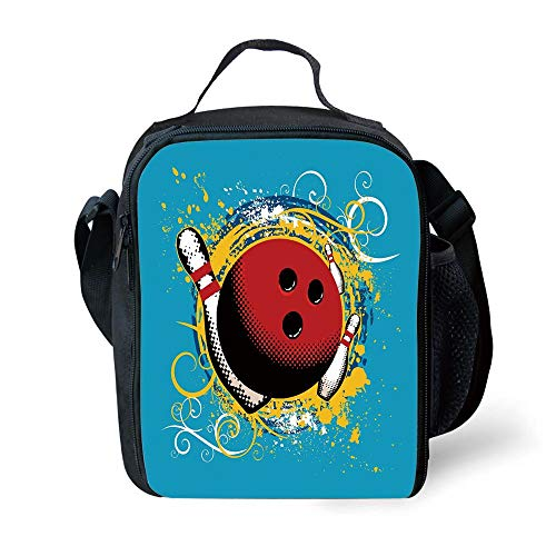 ZKHTO School Supplies Bowling Party Decorations,Fun Hobby Retro Ball Floral Swirls Color Splashes Pop Art,Blue Red Yellow for Girls or Boys Washable