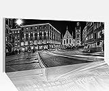 Acrylglasbild 100x40cm schwarz weiss Skyline München alt Rathaus Marienplatz Acrylbild Acryl Druck Acrylglas Acrylglasbilder 14A9059, Acrylglas Größe1:100cmx40cm