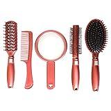 Set de 5 Brosses à Cheveux par Kurtzy - Brosses de Luxe avec Manches Roses - Kit Professionnel Brosses, Peignes et Miroir - Outils Filles et Femmes pour Démêler les Cheveux Épais et Bouclés
