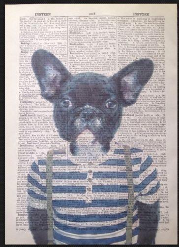 Bulldog francés Vintage de la imagen de impresión Diccionario libro Página Arte de la pared imagen perro