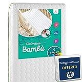 Babysom - Materasso Lettino Bambino Bambù + 1 Coprimaterasso Impermeabile OFFERTO | Per Neonato - 70x140cm - Sfoderabile - Altezza 12cm - Traspirante - Antiacari