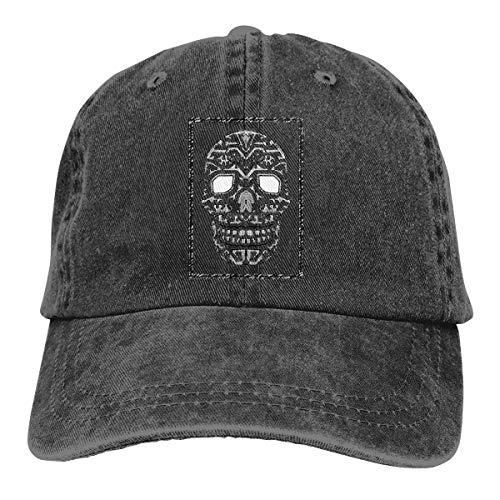Wfispiy Native Skull Verstellbare Gewaschene Vintage Baseballmützen Trucker Hat