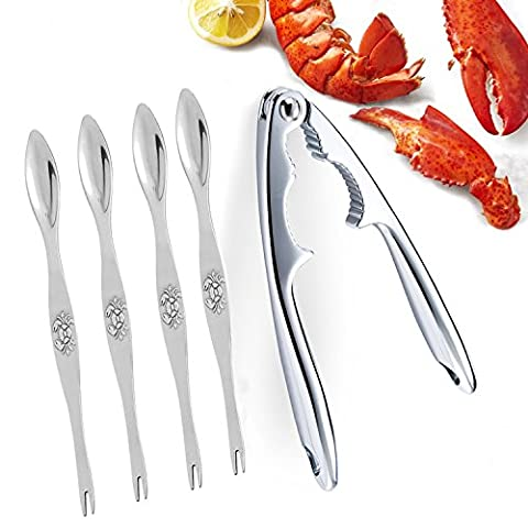 Best Utensils Seafood Tools Set Zinc Alloy Lobster Crab Cracker with 4 Seafood Forks/Picks Premium Seafood Cracker for Nut, Lobster, Crab, Crawfish, Prawns, Shrimp