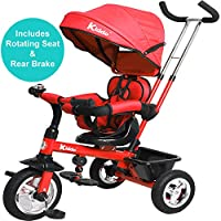 Kiddo Smart 4 in 1 Kids Children Trike Tricycle with Rotating Seat, Rear Brake and Sun Canopy