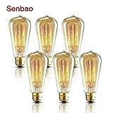 senbao Edison Glühbirnen im Vintage-Stil, 40W, E27,Käfigläufer, Glühfaden, dimmbar, für antike Glaslampen, Romantische Cafe-Beleuchtung, 6erPack