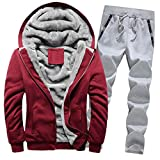 Riou Herren Strickjacke Cardigan Beiläufige DünneStrickpullover mit Kapuze Kapuzenpullover Pullover Männer Hoodie Winter warme Fleece Zipper Sweater Jacke Outwear Mantel (2XL, Rot B Set)