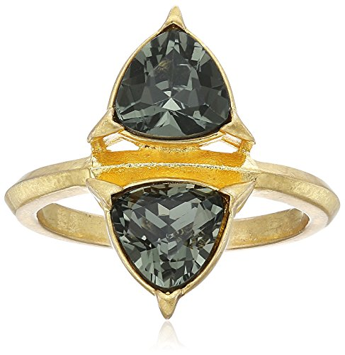 nicole-miller-trilliant-double-trillion-gold-black-diamond-crystal-ring-size-7