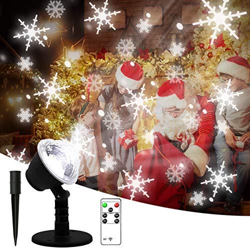 SMITHROAD LED Projektionslampe mit Schneeflocken Muster Schneefall Weiß, Weihnachtsbeleuchtung Außen Wasserdicht IP65, Weihnachten Projektor Lampe Innen mit Fernbedienung, Weihnachtsdeko Garten