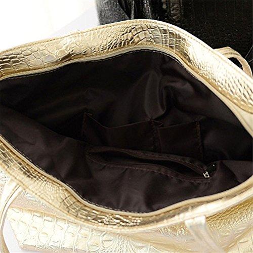 Honeymall Borse Donna Coccodrillo Modello, borse a mano donna grano del coccodrillo Grande Capacità Nero Nero