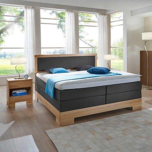 Pharao24 amerikanisches Bett in Grau Webstoff mit Nachtkonsolen Breite 180 cm Liegefläche 180x200 inkl. 2 Tonnentaschenfederkern, H2