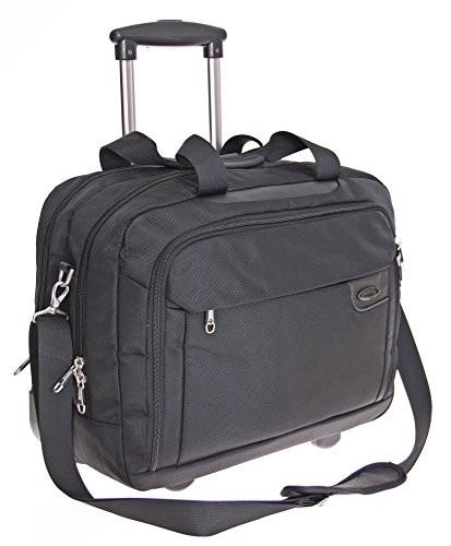 RAUMWUNDER Business Laptop Notebook Trolley Trolleytasche Bürotasche mit Laptopfach 15,4 bis 17 Zoll Koffer Trolley Rollen Bord Gepäck