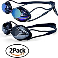 lilyshopingstore Swim Goggles,Professional Swimming Goggles Glasses No Leaking Anti Fog UV Protection Triathlon Mirrored Racing Goggles for Adult Men Women Youth Kids Child Teen(2pcs)