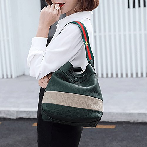 Mena Uk Sacchetto di spalla del messaggero portatile borsa in pelle morbida da donna Army Green