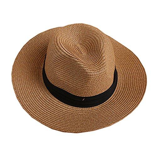 Hosaire Mütze Britischen Jazz Hut Strohhut Sonnenblende Sonnenhut Strand Hüte,Stroh Flachwerk Cap,Braun