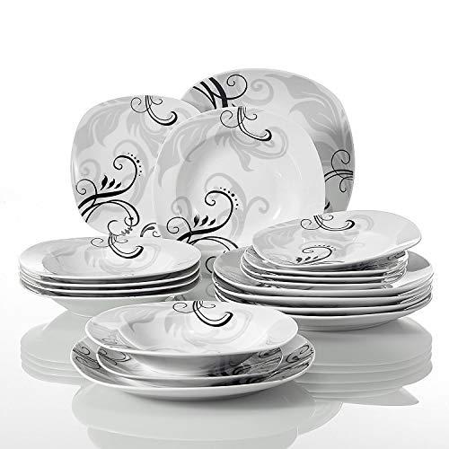 Veweet ZOEY 18pcs Assiettes Pocelaine Service de Table 6pcs Assiettes Plates 24,7cm, 6pcs Assiette Creuse 21,5cm, 6pcs Assiette à Dessert 19cm Vaisselles Céramique pour 6 Personnes Cadeau Fê