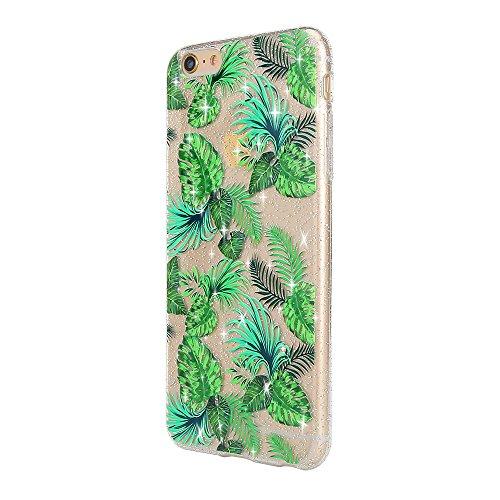 Sycode Coque pour iPhone 6S,Silicone Housse Etui pour iPhone 6,Crystal Clear Brillant Glitter Transparente Case Cover avec Joli élégant Fleur Oiseau Papillon Motif Souple Ultra Mince Exact Fit Doux Fl Vert Feuilles