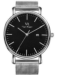 Vigor Rigger Relojes para Mujeres Relojes para Hombres Reloj clásico Moderno de Cuarzo Negro con Puntero de Plata Calendario de Fecha y…