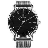 Vigor Rigger Herren Uhren Damen Armbanduhr Dünne schwarz Quarzuhr mit Silberner Zeiger Datum Kalender und Silber Edelstahl Mesh Armband
