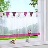 Bunte kleine Kaffee Vorhang Terri Garn Raffrollo H*B 45*90cm, Pink