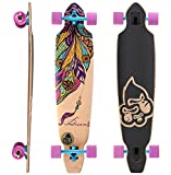 BIKESTAR Premium Canadian Maple Drop Through Flush Cut Pro Longboard Skateboard für Kinder und Erwachsene auch Anfänger ab ca. 12-14 Jahre ★ 75mm Downhill/Freeride/Race Edition ★ Dream Catcher Design