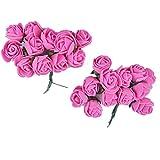 Majik Beautiful Flowers For Hair Styling (SET OF 24 FLOWERS) (Dark Pink)