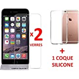 "2 Films Vitre Verre Trempé protection écran + 1 Gel silicone pour Apple IPhone 6 / 6s (4.7"") by Campus Telecom®"