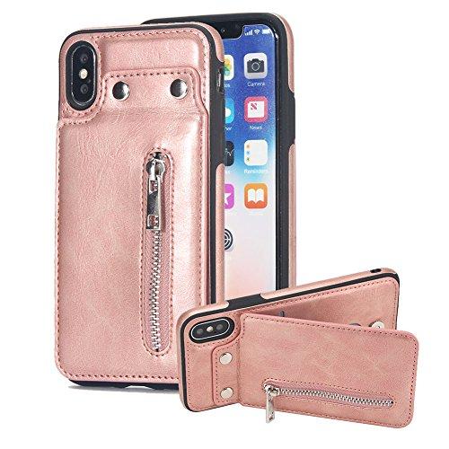 Vertikal Oben und Nieder Öffnen Hülle für iPhone X, Aearl PU-Leder Brieftasche Zurück Bumper Cover mit Kredit Kartenhalter Magnet Taste Schnalle Reißverschluss Tasche Ständer Handyhülle für iPhone X - Rosé gold (Reißverschluss Schnalle)