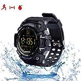 Herzfrequenz Fitness Tracker Smarts Armband Sportuhren Outdoor Wasserdichte IP67 Multifunktions Bluetooth Mode EX16 Uhr mit Android und IOS Smartphones,schwarz