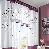 fastar Gardine Salon Moderne pastoralen-Stickerei für Schlafzimmer, Wohnzimmer, Wohnzimmer Studie C:140*225cm dunkelviolett