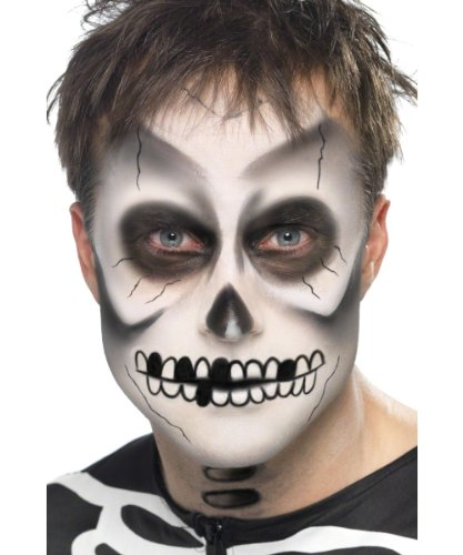 Skelett Up Make (Skelett Make-Up-Set Halloween 4-teilig)