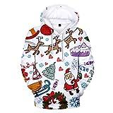 Auiyut Damen Kapuzenpullover Langarm Bluse 3D Gedruckt Freizeit Sweatshirt Weihnachten Hoodie Oberteile Frauen Schöne Schneemann Drucken Tops 2019 Weihnachten Karneval Groß Größen S-5XL