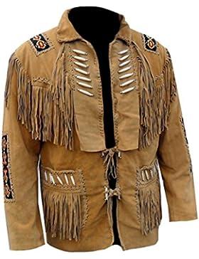 Classyak Hombre Western con flecos. Boned alta calidad con una chaqueta de cuero