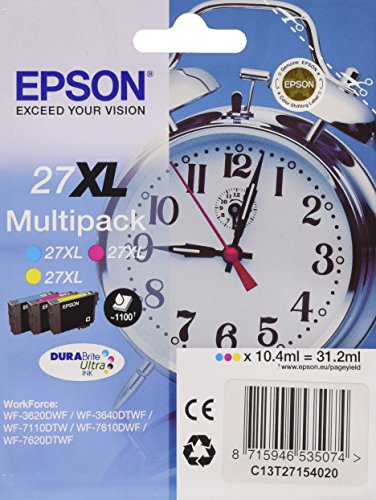 Epson Multipack Durabrite Ultra Ink Cartucce, Serie 27XL, 3 Colori, Multicolore
