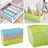 Hk Villa 1 Pcs Undergarments Innerwear Cosmetic Makeup Drawer Organiser Partition Box Set of 5 Grids Storage Box Assorted Color - Best for Desk, Drawer, Socks, Undergarments, Cosmetics, Tie, Socks, Bra - Plastic Storage Box/Organizer/Divider/Drawer socks storage organizer- Pack of 1