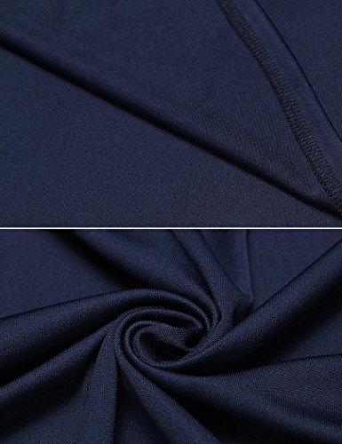 Meaneor Damen Vorne Schlitz Tiefer V-Ausschnitt Wickeloptik Businesskleid Kurzarm Mini Kleider Einfarbig Cocktailkleid Marineblau