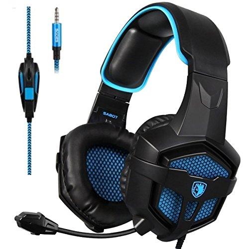 SADES SA807 Gaming Kopfhörer für PS4 / Xbox One / PC mit Noise Cancelling-Mikrofon In-Ear-Kopfhörer, Surround-Sound, Lautstärkeregler(Schwarz und Blau) Microsoft Ipod Video