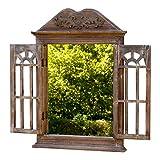 amadeco Wunderschönes Spiegelfenster mit 2 Rundbögen Rundbogenfenster Spiegel mit Fensterläden im Landhaus Stil - aus Holz - Braun Vergleich