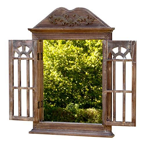 fenster spiegel holz amadeco Wunderschönes Spiegelfenster mit 2 Rundbögen Rundbogenfenster Spiegel mit Fensterläden im Landhaus Stil - aus Holz - Braun