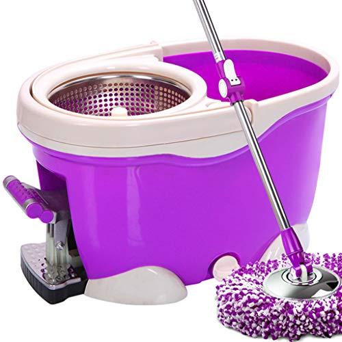 Mopp Um 360 Grad Drehbarer Haushaltsmopp Mit Vier Antrieben, Zwei Moppköpfen, Mikrofasermopp Und Eimerset Für Die Reinigung des Küchenbodens Zu Hause (Color : Purple, Size : 48x28x30cm) -