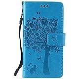 LG K5 Hülle Blau im Retro Wallet Design,Cozy Hut LG K5