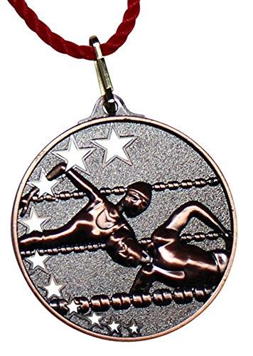 Pokalkönig Medaille Metall Schwimmen Set Gold, Silber, Bronze inklusive Kordeln 5,2cm (10x Bronze) -