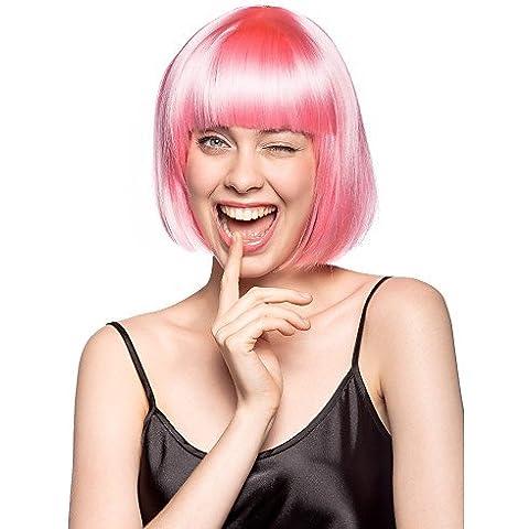 Moda pelucas de Cosplay naturales tapa peluca estilo bob y siete colores del partido sintético,baby
