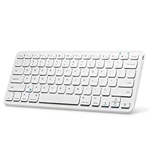 Universal Bluetooth Wireless Keyboard, Anker Ultra Compact Slim Profile Wireless Bluetooth Keyboard with Rechargeable Battery, Universal Compatibility with iPad and Computer - White