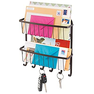 mDesign Mail, Letter Holder, Key Rack Organizer for Entryway, Kitchen - 2 Tiers, Wall Mount, Bronze